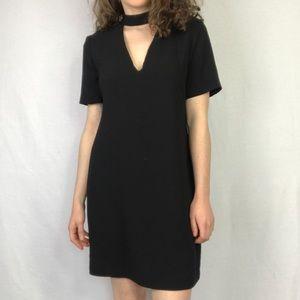 Zara Black Shift Dress with Chest Cutout XS
